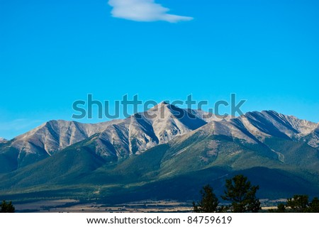 Mt Princeton, a distinctive 14,000' peak of the Collegiate Peaks near Buena Vista, Colorado - stock photo