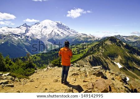 Mt Rainier from Dege Peak at 7006 Feet  - stock photo