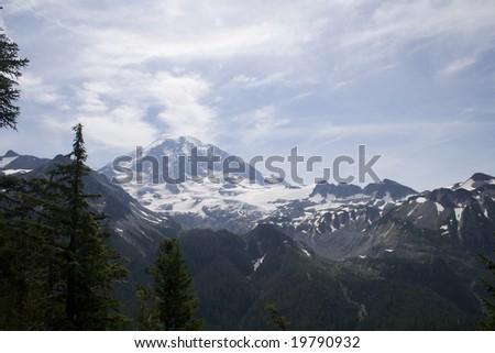 Mt. Rainier on a hot summer day - stock photo