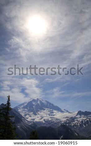 Mt. Rainier on a summer day - stock photo
