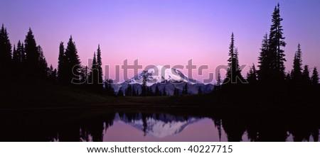 Mt. Rainier reflecting in Tipsoo Lake in Mt. Rainier National Park located in Washington State. - stock photo