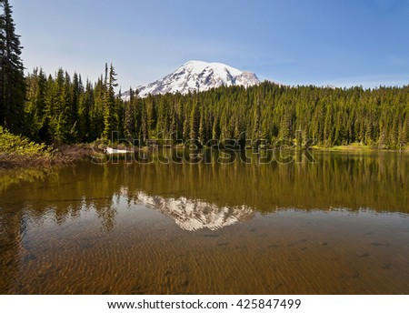 Mt rainier Reflection at Reflection Lake - stock photo