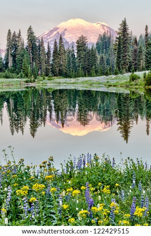 Mt Rainier reflection on Lake Tipsoo at sunrise, Washington - stock photo
