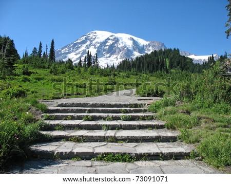 Mt. Rainier Steps - stock photo