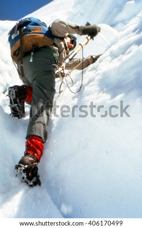 MT RAINIER, WASHINGTON, MAR 20, 1972 -  Ice climbing on the Puyallup Glacier,Mt. Rainier NPCascadesWashington