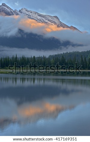 Mt Rundle reflected in Vermillion Lakes, Banff National Park, Alberta, Canada - stock photo