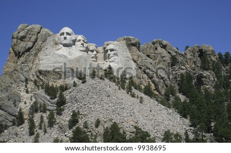 Mt. Rushmore on a clear summer day - stock photo