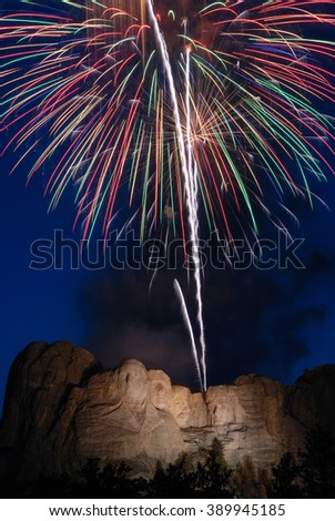 Mt. Rushmore 4th of July - stock photo