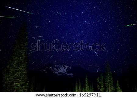 Mt Shasta 01 Perseids Meteor Shower 2012 Bunny Flat California USA - stock photo