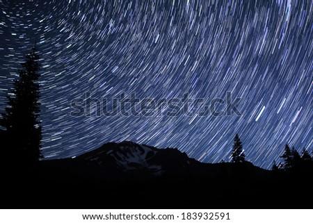 Mt Shasta 02 Perseids Meteor Shower 2012  Star Trails Bunny Flat California U - stock photo