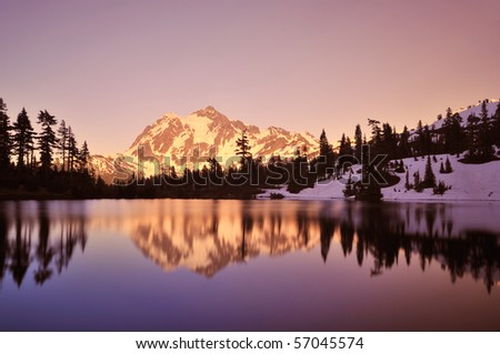 mt shuksan and picture lake at sunset, Mt. Baker-Snoqualmie National Forest - stock photo
