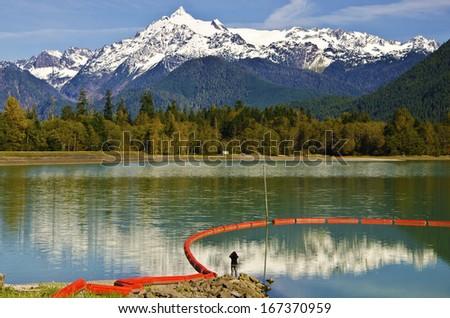 Mt Shuksan back view from baker Lake  - stock photo