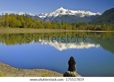 Mt Shuksan back view from baker Lake with Beautiful Reflection - stock photo