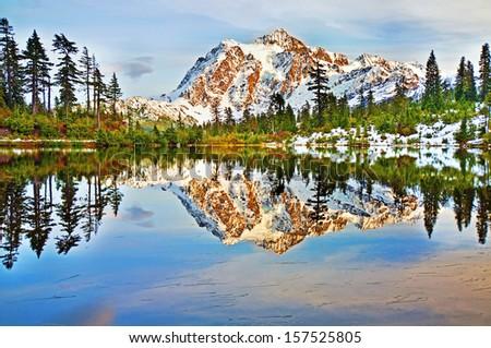 Mt Shuksan In picture lake - stock photo