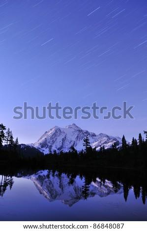 Mt. Shuksan starry night - stock photo