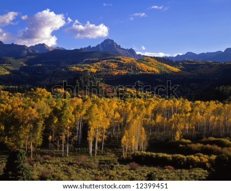 Mt. Sneffels in the Uncompahgre National Forest, Colorado, photographed during the autumn season. - stock photo