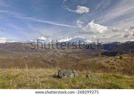 Mt. St. Helen landscape and skies at sunset Washington state. - stock photo