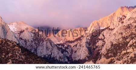 Mt Whitney Covered Cumulus Cloud Sierra Nevada Range California - stock photo