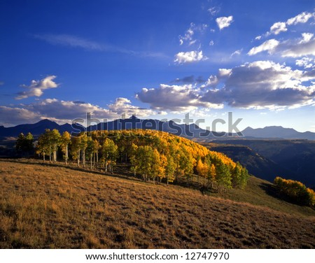 Mt. Wilson in the Uncompahgre National Forest, Colorado, during the autumn season. - stock photo