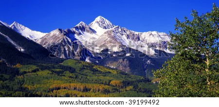Mt. Wilson in the Uncompahgre National Forest of Colorado, photographed during the autumn season. - stock photo
