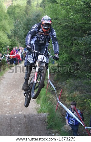 MTB World Cup 2006 at Fort William Scotland - Downhill Final Rider 43 Brendan Faircloth - stock photo