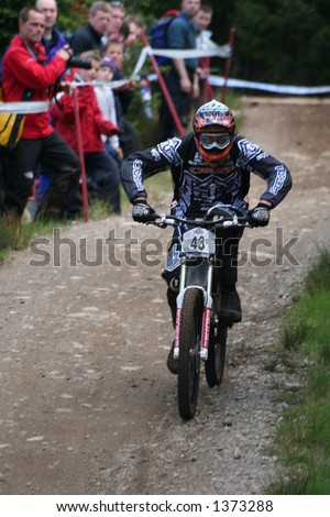 MTB World Cup 2006 at Fort William Scotland - Downhill Final Rider 43 - Brendan Faircloth - stock photo