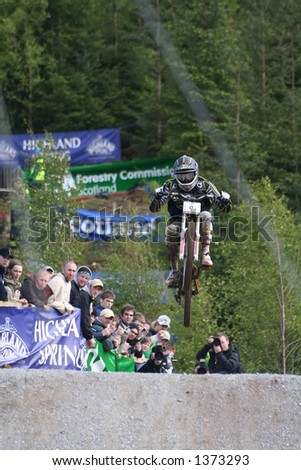 MTB World Cup 2006 at Fort William Scotland - Downhill Final Rider 9 Mickael Pascal - stock photo