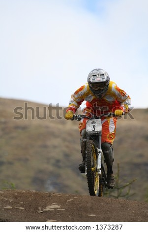 MTB World Cup 2006 at Fort William Scotland - Womens Downhill Final Rider 5 Celine Gros - stock photo