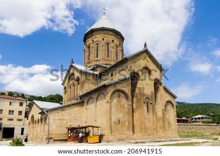 MTSKHETA, GEORGIA - JULY 19, 2014: Shio-Mgvime monastery, a medieval monastic complex in Georgia, near the town of Mtskheta, which is a UNESCO World Heritage - stock photo