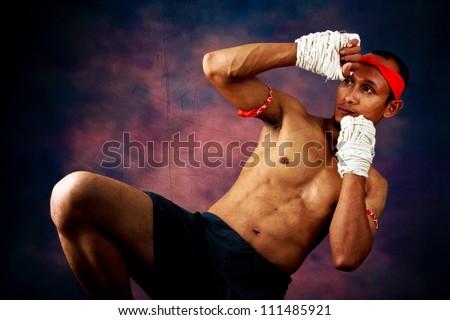 muay thai boran fighter - stock photo
