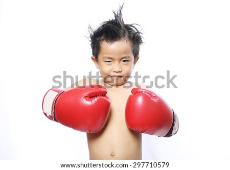 Muay Thai children on a white background. - stock photo