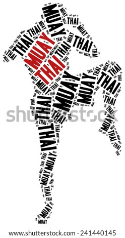 Muay Thai. Martial arts concept. Word cloud illustration. - stock photo