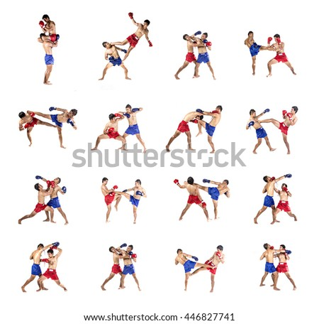 Muay thai set, Two caucasian men exercising thai boxing, isolated on white background - stock photo