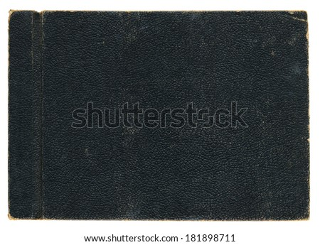 Much detail in frayed edges of this nineteen-forties era leather photograph album back cover. Leather shows lots of wear.  - stock photo