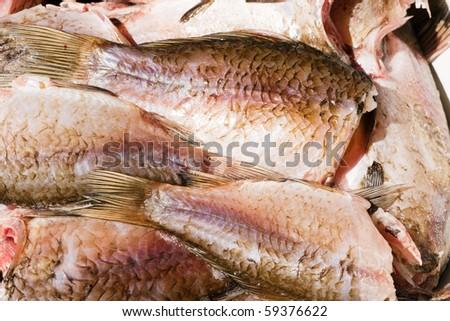 Much fresh frozen fishes. - stock photo