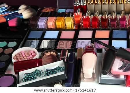 Much makeup close-up - stock photo