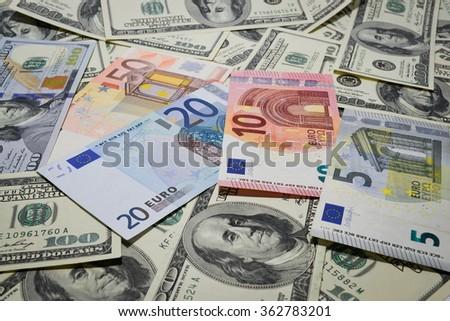 Much money. Many banknotes. Dollar, euro - stock photo
