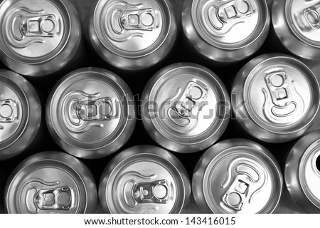 Much of drinking cans close up - stock photo