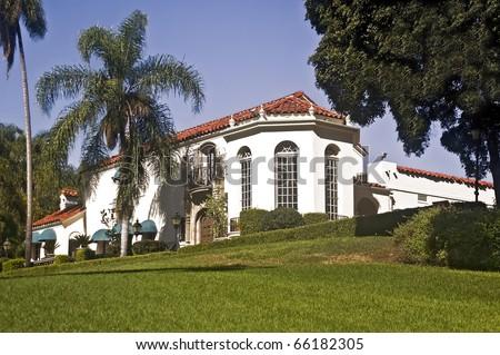 Muckenthaler Community Center in Fullerton, California, a former historic mansion - stock photo