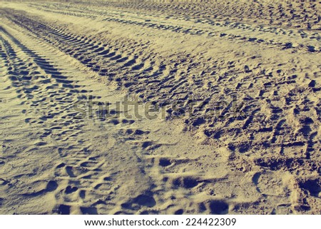 Mud Dirt Track Background, Vintage toning - stock photo