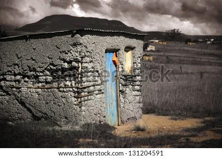 Mud dwelling in the South African rural areas of Kwazulu Natal - stock photo