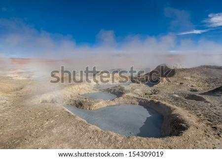 Mud geyser, Altiplano, Bolivia - stock photo