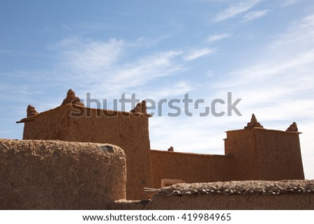 Mud Houses, Sahara Desert, Morocco. - stock photo