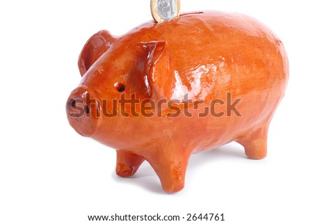 Mud Pig Bank for a lot coins . . . (Children Bank) - stock photo