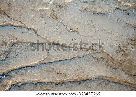 Mud sediment on the sea that shaped pattern.  - stock photo