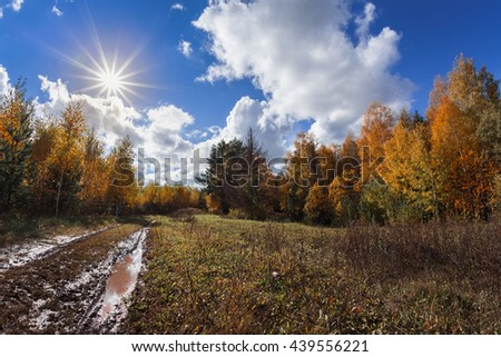 Muddy autumn road through forest and blue sky with clouds and sun - stock photo