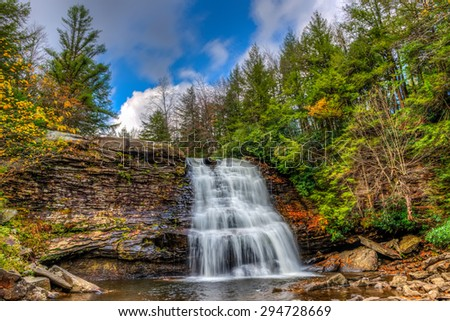 Muddy Falls Waterfall in the Appalachian Mountains during Autumn - stock photo
