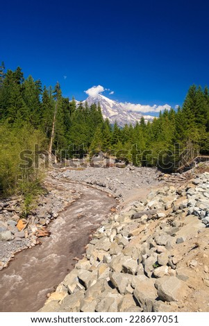 Muddy river flowing from melting snow covered Mt. Rainier in the background, Mt. Rainier National Park, Washington, USA - stock photo
