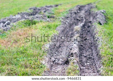 Muddy rut from truck tires in grass field.