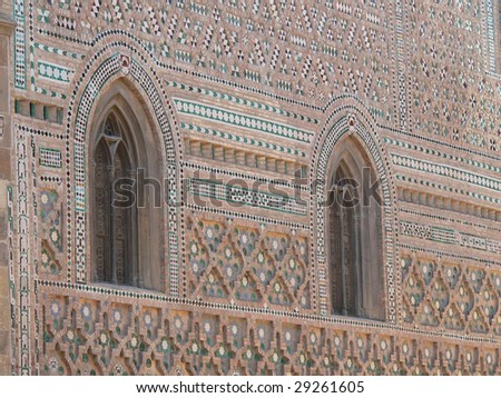 Mudejar wall. San Salvador Cathedral (la Seo) in Zaragoza, Aragon, Spain